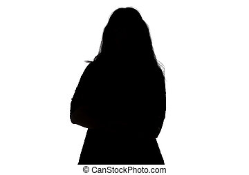 Silhouette of fat woman on white background