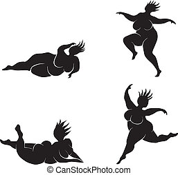Silhouette of fat women in many poses
