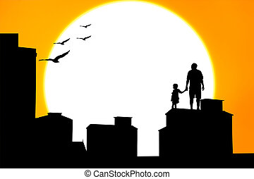 silhouette of father and son standing on the building sunset background
