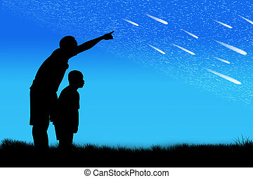 Silhouette of father point his son look at star on the sky