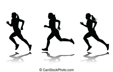 silhouette of female sprinter - vector