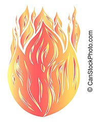 silhouette of fire on a white background