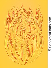 silhouette of fire on a yellow background
