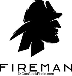 silhouette of fireman abstract vector design template