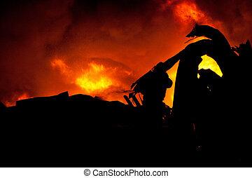 Silhouette of Firemen