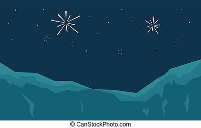 Silhouette of firework landscape at night