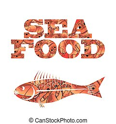 Silhouette of Fish. Seafood Text