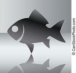 Silhouette of fish. Vector illustration