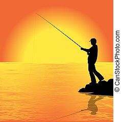 fisherman - silhouette of fisherman at sunset