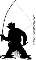 Illustration of a silhouette of a fisherman fly fishing with a net isolated on white background