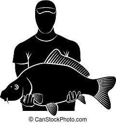 carp - Silhouette of fisherman holding big carp fish