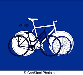 Silhouette of fix bike, cycling sport background, vector illustration