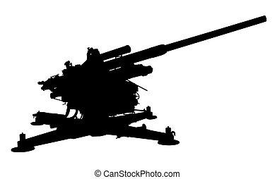 Silhouette of Flak 38, 105 mm anti-aircraft gun