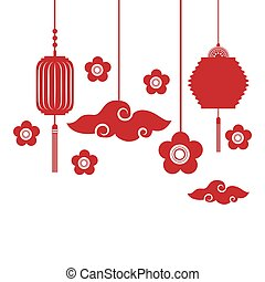 chinese lanterns decorations - silhouette of flowers and ...