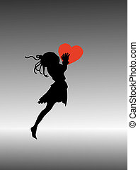 silhouette of flying fairy holding a red heart