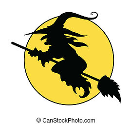 Silhouette of flying witch on broom