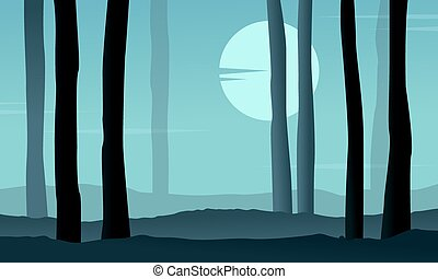 Silhouette of forest at night with moon