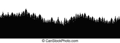 Silhouette of forest. Beautiful spruce (fir) trees on hill. Forest background . Vector illustration