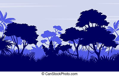Silhouette of forest on purple background