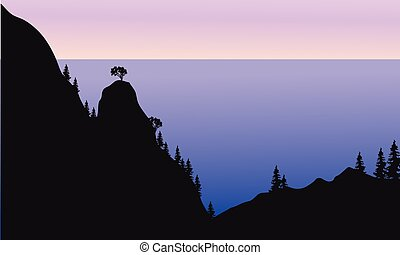 Silhouette of forest on the mountain