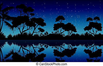 Silhouette of forest with reflection scenery