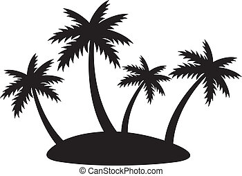 silhouette of four palms - silhouette of tropical island...