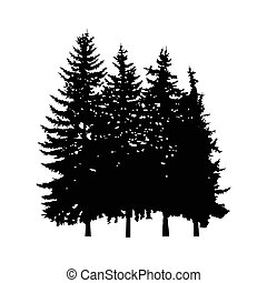 Silhouette of four pine trees.