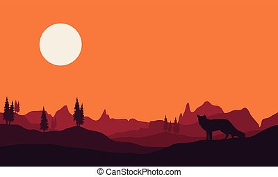 Silhouette of fox in hills