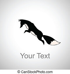 silhouette of fox - silhouette of the fox in motion with...