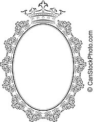 silhouette of frame oval with crown