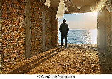 Silhouette of free man.