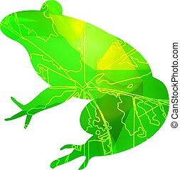 Silhouette of frog with leaf veins and stone cubes. Can be...