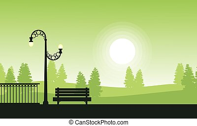 Silhouette of garden at sunset scenery