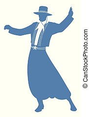 Silhouette of gaucho with hat dancing typical dance of South...