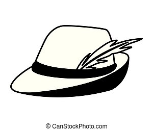 silhouette of german hunting hat with feather on white background