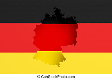 Silhouette of Germany map with flag - 3d rendering of ...