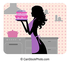 Silhouette of girl cooking - Silhouette of beautiful girl...
