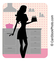 Silhouette of girl cooking