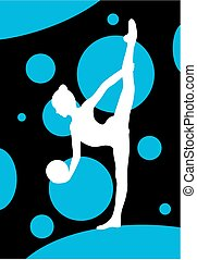 Silhouette of girl doing  gymnastics exercises with ball over abstract background