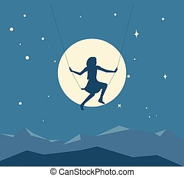 Silhouette of girl on a swing