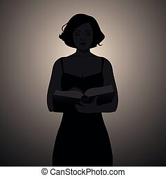 Silhouette of girl reading holding a book. Vector Illustration