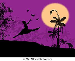 girl releasing doves - Silhouette of girl releasing doves in...