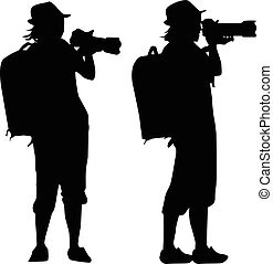 silhouette of   girl taking pictures with a camera