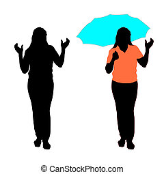Silhouette of girl with an umbrella. Vector illustration.