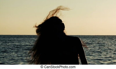 silhouette of girl with long flying hair on the background...