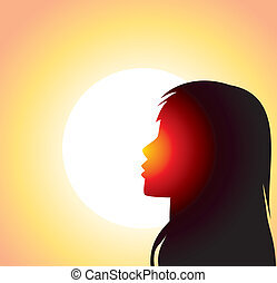 silhouette of girl's face