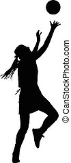 Silhouette of girls ladies netball player catching ball