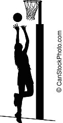 Silhouette of girls ladies netball player shooting for goal...