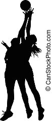 Silhouette of girls ladies netball players competing for ball in air