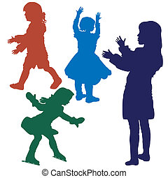 silhouette of girls